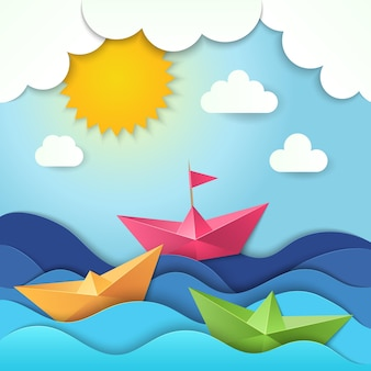 Schneiden sie papier ozeanwellen schatten schiff stilisierte illustration.