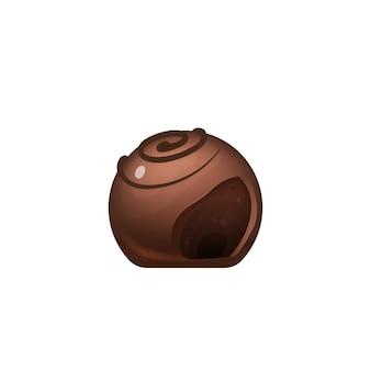 Schneiden sie schokoladenbonbon süßer kakaodessert realistische illustration zuckerwaren köstlicher lutscher appetitlich glasierte leckere karamellpraline d isoliertes objekt auf weißem hintergrund