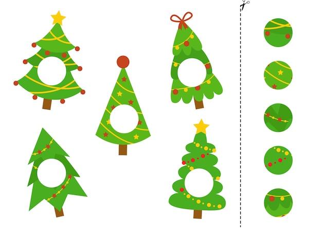 Schneiden sie teile von weihnachtstannen und kleben sie sie. pädagogisches logisches spiel.