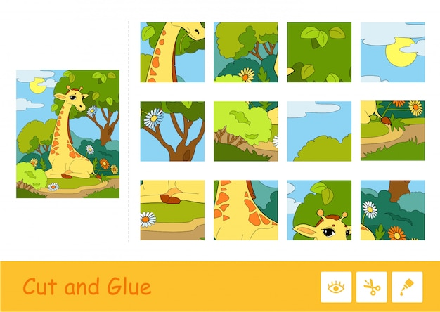 Schneiden und kleben sie puzzle-lernkinderspiel mit buntem bild einer giraffe, die eine blume in einem wald isst. wildtier-bildungsaktivität für kinder.