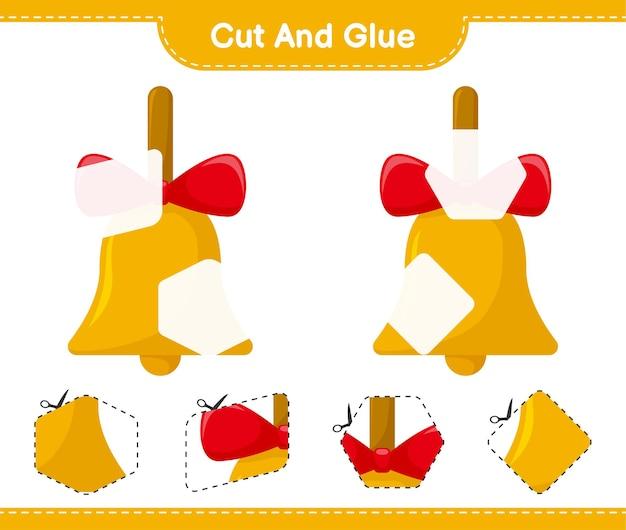 Schneiden und kleben sie, schneiden sie teile der goldenen weihnachtsglocken und kleben sie sie. pädagogisches kinderspiel, druckbares arbeitsblatt