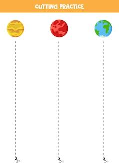 Schneiden und kleben sie spiel für kinder mit cartoon-planeten