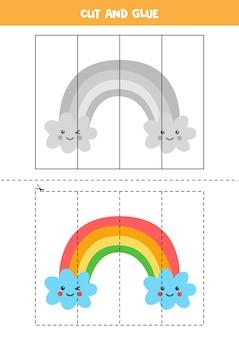 Schneiden und kleben sie spiel für kinder mit niedlichem regenbogen. schneidpraxis für kinder im vorschulalter.