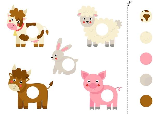 Schneiden und kleben sie teile von cartoon-nutztieren. pädagogisches logisches spiel für kinder passendes spiel