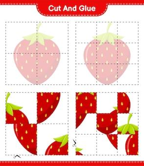 Schneiden und kleben, teile der erdbeere schneiden und kleben. pädagogisches kinderspiel, druckbares arbeitsblatt