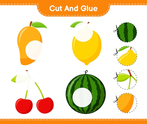 Schneiden und kleben, teile von früchten schneiden und kleben. pädagogisches kinderspiel, druckbares arbeitsblatt