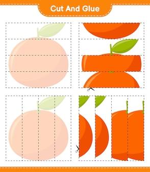 Schneiden und kleben, teile von tangerin schneiden und kleben. pädagogisches kinderspiel, druckbares arbeitsblatt