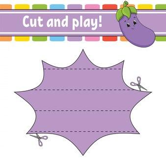Schneiden und spielen. logik-puzzle für kinder. arbeitsblatt zur bildungsentwicklung. Premium Vektoren