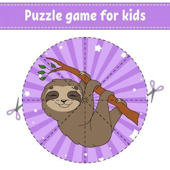 Schneiden und spielen. logikpuzzle für kinder. arbeitsblatt zur bildungsentwicklung. lernspiel. aktivitätsseite.