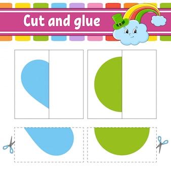 Schneiden und spielen. papierspiel mit kleber. karteikarten. arbeitsblatt bildung. regenbogen, kreis, herz.
