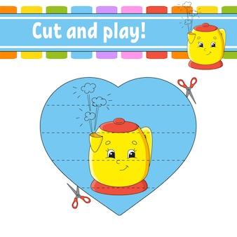 Schneiden und spielen sie ein spiel für kinder