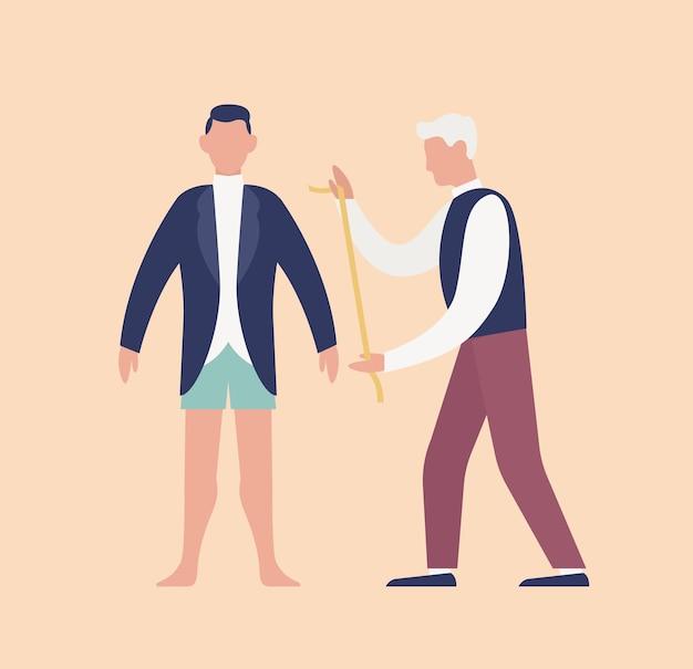 Schneider messen süßen jungen mann im smoking oder bräutigam mit maßband und fitting. hochzeitstag morgenroutine und vorbereitung für zeremonie und party. flache cartoon bunte vektor-illustration.