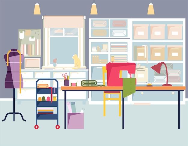 Schneiderei interieur mit nähwerkzeugen nähwerkstatt atelier nähen coworking