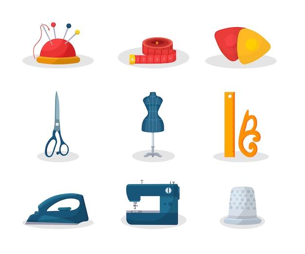 Schneiderwerkzeuge flache illustrationen gesetzt. nadelstift und maßband, schneidereiausrüstung für modewerkstätten, schere, schaufensterpuppe, schneiderinstrumentenpaket, glätteisen und nähmaschine