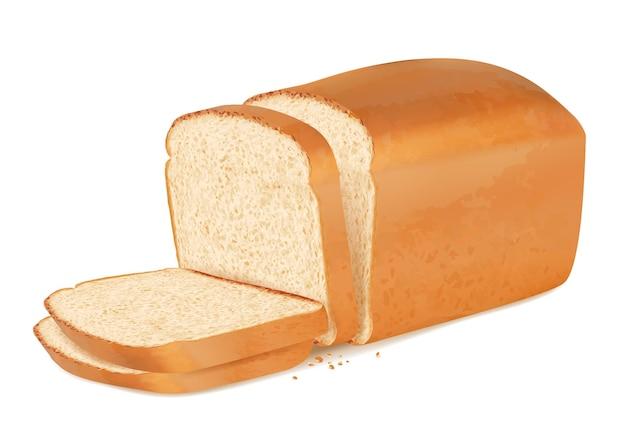 Schneidet brot. realistischer frischer backwarenstapel des köstlichen brotes des baguettevektors. bäckereibrot, essen mit krustenfrühstücksillustration