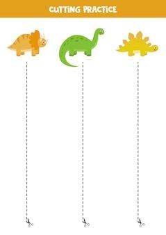 Schneidpraxis für kinder im vorschulalter. durch gestrichelte linie geschnitten. nette karikaturdinosaurier.