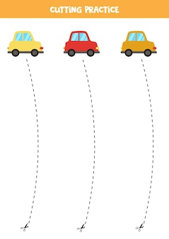 Schneidpraxis für kinder im vorschulalter. durch gestrichelte linie geschnitten. süße bunte autos.