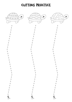 Schneidpraxis für kinder im vorschulalter. durch gestrichelte linie geschnitten. süße schildkröten.