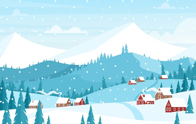 Schneit in berglandschaft flach. schöner winterweihnachtshintergrund.