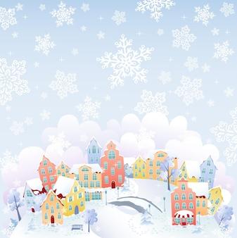 Schneitende stadt in der wintervektorillustration