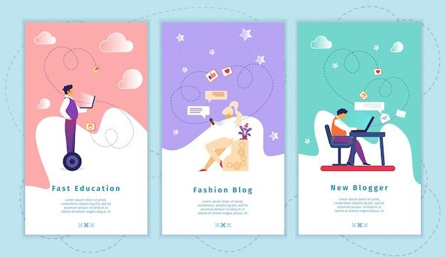 Schnelle bildung, modeblog, neues blogger-app-set
