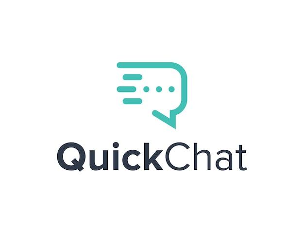 Schnelle chat-blase umriss einfaches schlankes kreatives geometrisches modernes logo-design