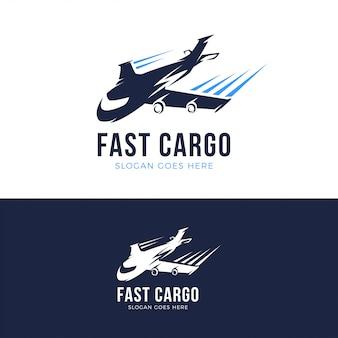 Schnelle frachtflugzeug logo vorlage
