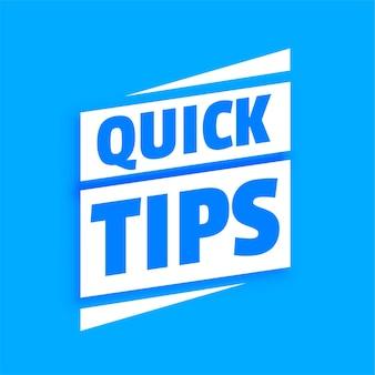 Schnelle hilfreiche tipps mit blauem hintergrund