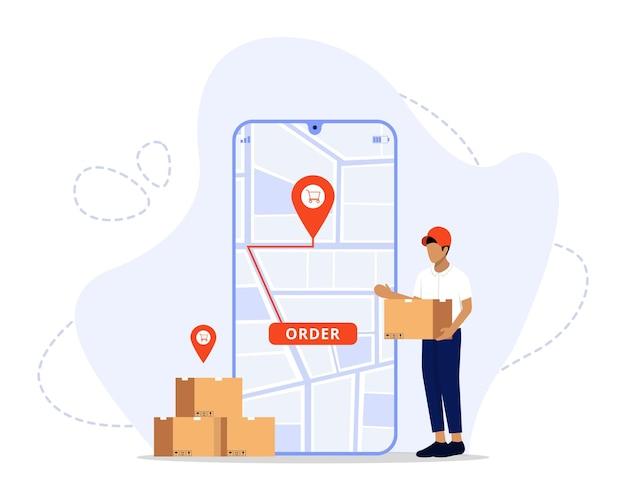 Schnelle lieferung auf dem mobilen e-commerce-konzept online-infografik für lebensmittel- oder pizzabestellungen und -verpackungen