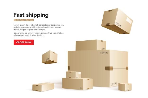 Schnelle lieferung. konzept für schnellen lieferservice. Premium Vektoren