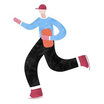Schnelle lieferung. mann läuft mit einer kiste in der hand.