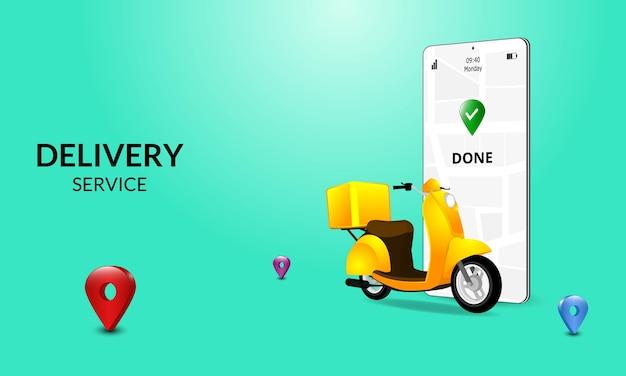 Schnelle lieferung per roller auf dem handy. e-commerce-konzept. online-essen