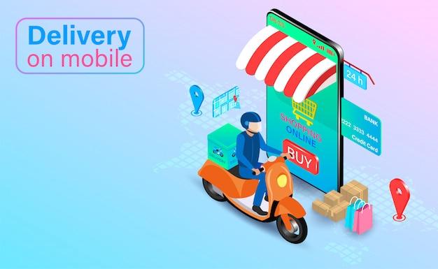Schnelle lieferung per roller auf dem handy. online-bestellung und paket von lebensmitteln im e-commerce per app. isometrisches flaches design.