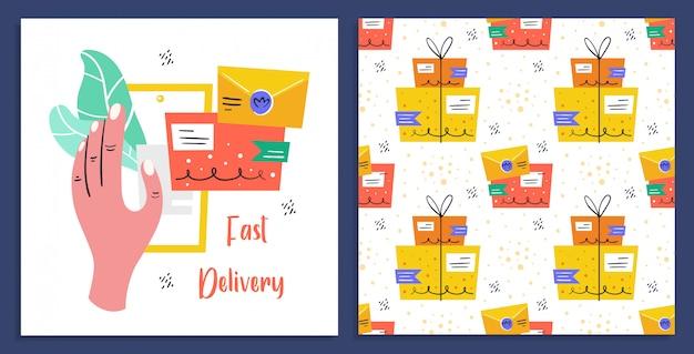 Schnelle lieferung. post, postfach, zustellung. post. schneller service. flache bunte illustration