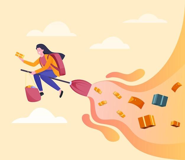 Schnelle paketzustellerin mit einem besenstiel-illustrationskonzept
