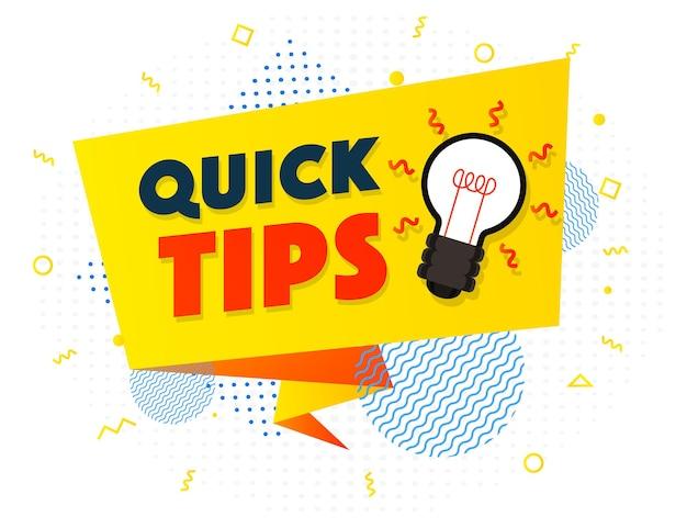 Schnelle tipps banner glühbirne vektor moderner stil für tooltip-abzeichen-lösung und beratungsetikett hilfreich