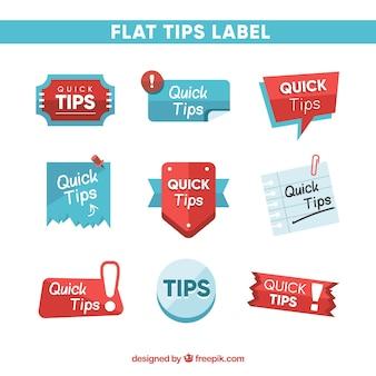 Schnelle tipps etiketten sammlung in flachen stil