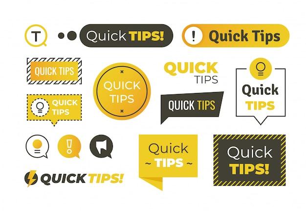 Schnelle tipps formen. hilfreiche tricks logos und banner, ratschläge und vorschläge embleme. schnelle hilfreiche tipps