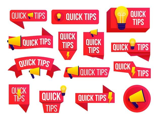 Schnelle tipps, hilfreiche tricks, tooltip, hinweis für die website. buntes banner mit nützlichen informationen.