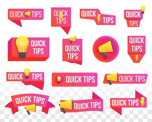 Schnelle tipps, hilfreiche tricks, tooltip, hinweis, set