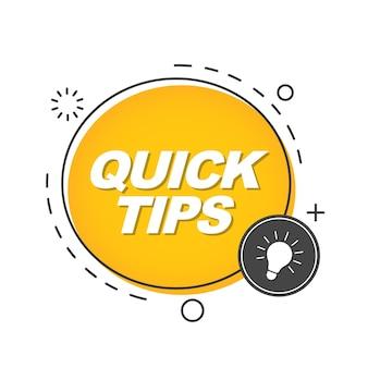 Schnelle tipps, tooltip, hinweis für website. gelbes banner mit nützlichen informationen. trendige ikone der lösung, beratung.