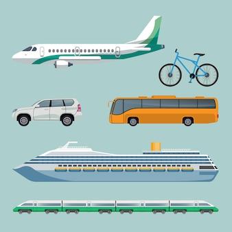 Schnelle transportmittel satz moderner transportmittel. plakat der karikaturillustrationen mit flugzeug, fahrrad, automobil, bus, luxusschiff und zug mit vielen autos. reisekonzept
