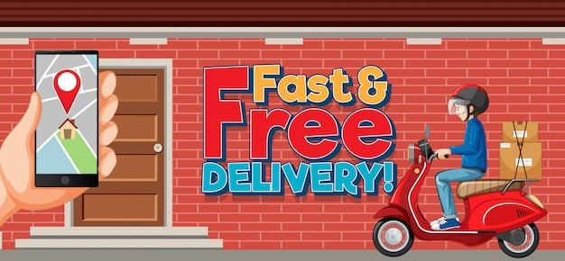 Schnelle und kostenlose lieferung logo mit fahrradmann oder kurier in der stadt
