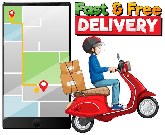 Schnelle und kostenlose lieferung logo mit fahrradmann oder kurier