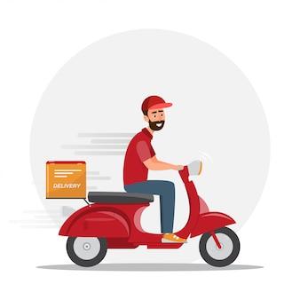 Schneller lieferbote mit rotem roller. postbote illustration zeichentrickfigur