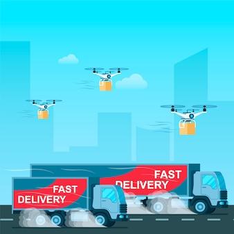 Schneller lieferwagen. drohne mit paket fliegen
