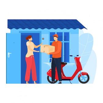 Schneller postdienst, männlicher charakter postbote fahren motorrad liefern bestellung an kundenfrau isoliert auf weiß, cartoon-illustration.