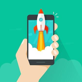Schneller raketenstart oder start der flachen karikatur am handy oder am mobiltelefon in der hand