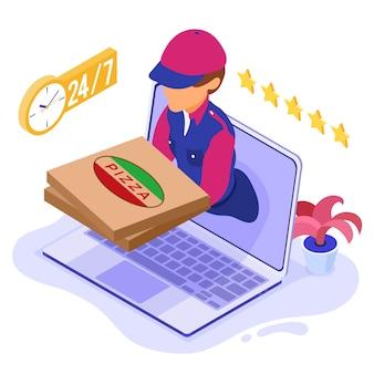 Schneller und kostenloser online-bestell- und paketzustelldienst. fast-food-versand. isometrischer kurier mit pizza. lieferbote vom laptop. online-bestellung mit computer isometrisch