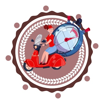 Schneller zustelldienst logo woman courier riding retro scooter icon isolated